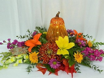 Autumn Bounty Centerpiece from local Myrtle Beach florist, Bright & Beautiful Flowers