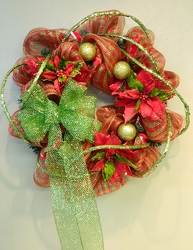 Red & Green Flare Wreath from local Myrtle Beach florist, Bright & Beautiful Flowers