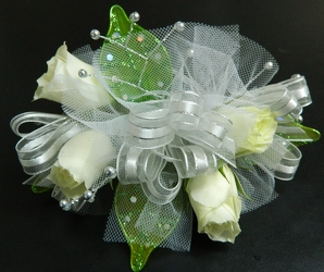 Sweetheart Rose Corsage with silver and green accents from local Myrtle Beach florist, Bright & Beautiful Flowers