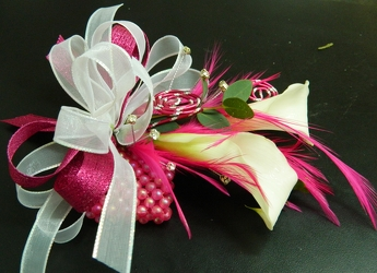 2 Callas with Pink and White Ribbon from local Myrtle Beach florist, Bright & Beautiful Flowers