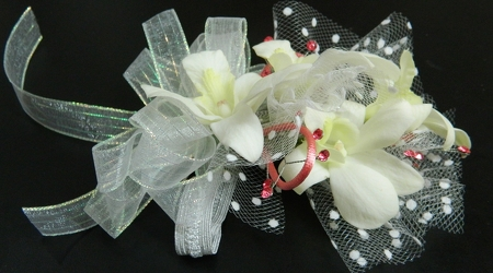 White Orchids with White accents from local Myrtle Beach florist, Bright & Beautiful Flowers