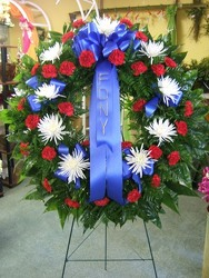 Hero's Tribute Wreath from local Myrtle Beach florist, Bright & Beautiful Flowers